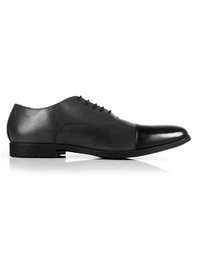 Gray and Black Toecap Oxford Leather Shoes main shoe image