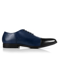 Dark Blue and Black Toecap Oxford main shoe image