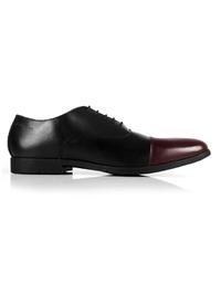 Black and Burgundy Toecap Oxford main shoe image