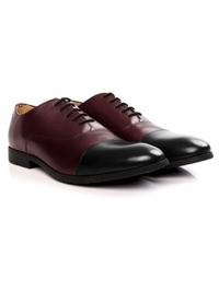 Burgundy and Black Toecap Oxford Leather Shoes alternate shoe image