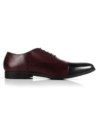 Burgundy and Black Toecap Oxford Leather Shoes main shoe image