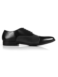 Black and Gray Toecap Oxford Leather Shoes main shoe image