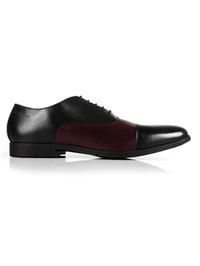 Black and Burgundy Toecap Oxford main shoe image