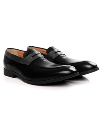 Black and Gray Apron Halfstrap Slipon Leather Shoes alternate shoe image