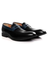 Black and Dark Blue Apron Halfstrap Slipon Leather Shoes alternate shoe image