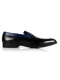 Black and Dark Blue Apron Halfstrap Slipon Leather Shoes main shoe image
