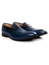 Dark Blue and Black Apron Halfstrap Slipon Leather Shoes alternate shoe image