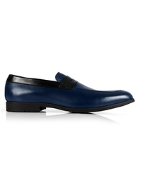 Dark Blue and Black Apron Halfstrap Slipon Leather Shoes main shoe image