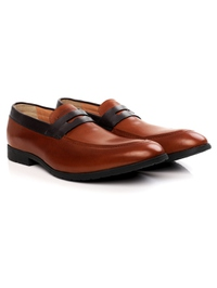 Tan and Brown Apron Halfstrap Slipon Leather Shoes alternate shoe image