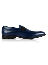 Dark Blue and Black Apron Halfstrap Slipon main shoe image