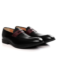 Black and Burgundy Apron Halfstrap Slipon alternate shoe image