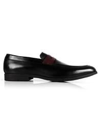 Black and Burgundy Apron Halfstrap Slipon Leather Shoes main shoe image