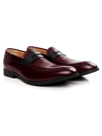 Burgundy and Black Apron Halfstrap Slipon Leather Shoes alternate shoe image