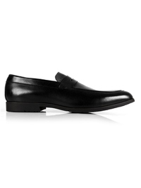 Black and Gray Apron Halfstrap Slipon Leather Shoes main shoe image