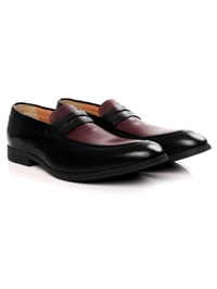 Black and Burgundy Apron Halfstrap Slipon Leather Shoes alternate shoe image