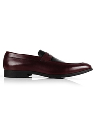 Burgundy and Black Apron Halfstrap Slipon Leather Shoes main shoe image
