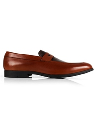 Tan and Brown Apron Halfstrap Slipon Leather Shoes main shoe image