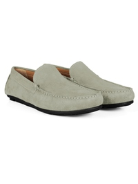 Gray Plain Apron Moccasins Leather Shoes alternate shoe image