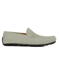 Gray Plain Apron Moccasins Leather Shoes main shoe image