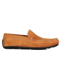 Beige Plain Apron Moccasins Leather Shoes main shoe image