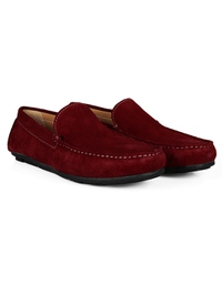 Red Plain Apron Moccasins Leather Shoes alternate shoe image