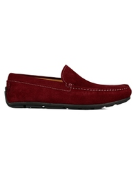 Red Plain Apron Moccasins Leather Shoes main shoe image