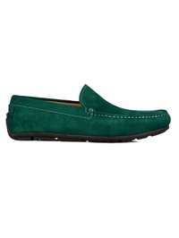 Green Plain Apron Moccasins Leather Shoes main shoe image