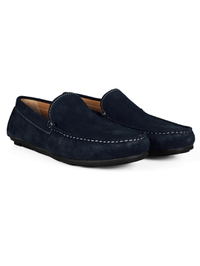 Navy Blue Plain Apron Moccasins Leather Shoes alternate shoe image