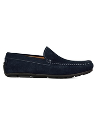 Navy Blue Plain Apron Moccasins Leather Shoes main shoe image