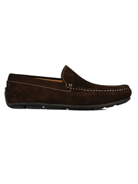 Brown Plain Apron Moccasins Leather Shoes main shoe image