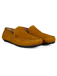 Mustard Plain Apron Moccasins Leather Shoes alternate shoe image