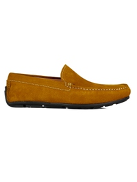 Mustard Plain Apron Moccasins Leather Shoes main shoe image