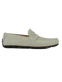 Gray Penny Loafer Moccasins Leather Shoes main shoe image