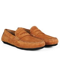 Beige Penny Loafer Moccasins Leather Shoes alternate shoe image