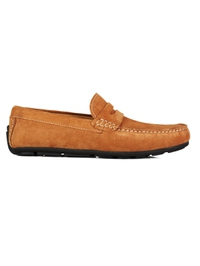 Beige Penny Loafer Moccasins Leather Shoes main shoe image