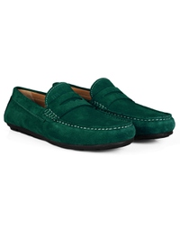 Green Penny Loafer Moccasins Leather Shoes alternate shoe image