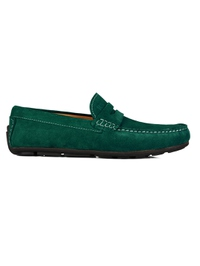 Green Penny Loafer Moccasins Leather Shoes main shoe image