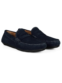 Navy Blue Penny Loafer Moccasins Leather Shoes alternate shoe image