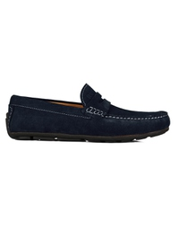Navy Blue Penny Loafer Moccasins Leather Shoes main shoe image