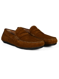 Tan Penny Loafer Moccasins Leather Shoes alternate shoe image