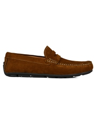 Tan Penny Loafer Moccasins Leather Shoes main shoe image