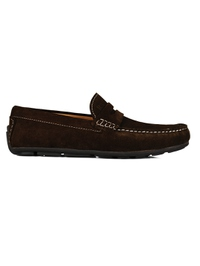 Brown Penny Loafer Moccasins main shoe image