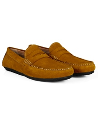 Mustard Penny Loafer Moccasins Leather Shoes alternate shoe image