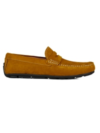 Mustard Penny Loafer Moccasins Leather Shoes main shoe image