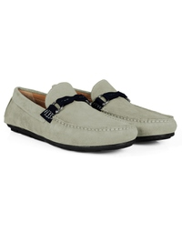 Gray and Navy Blue Buckle Moccasins Leather Shoes alternate shoe image