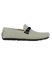 Gray and Navy Blue Buckle Moccasins main shoe image