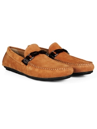 Beige and Brown Buckle Moccasins Leather Shoes alternate shoe image