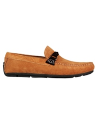 Beige and Brown Buckle Moccasins Leather Shoes main shoe image