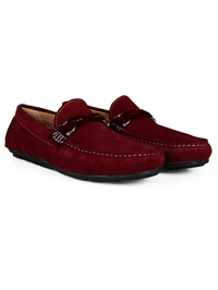 Red and Burgundy Buckle Moccasins Leather Shoes alternate shoe image