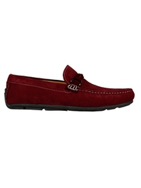 Red and Burgundy Buckle Moccasins Leather Shoes main shoe image